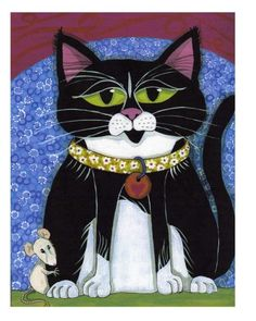 Cat Note Card Blank Curtis and Friend Original by furthermorepress