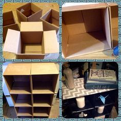 {Cardboard Box Storage Cube} Turn cardboard boxes into a simple storage cube: Using hot glue, attach the boxes together. Spray paint. For the top, wrap a slightly larger rectangle of cardboard in pretty fabric or shelf paper. Hot glue that on as well. Turned out somewhat tacky, but useful. I keep CDs and movies in it now.
