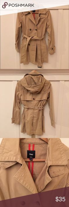 Tan Gap trench coat! Excellent condition trench-perfect for the fall! In size small from the Gap. Comes with hood and belted. GAP Jackets & Coats Trench Coats