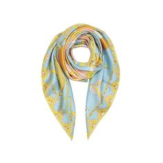 Emilio Pucci Square Scarves Light Blue Floral Print Twill Silk Square... ($220) ❤ liked on Polyvore featuring accessories, scarves, light blue, square scarves, silk twill scarves, floral shawl, light blue shawl and light blue scarves
