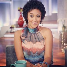 """Tamera Mowry Wears Natural Hair on The Real.  Mowry will talk about her hair today on the """"Don't Touch My Hair"""" Segment. For airing times and more clips visit: TheReal.com"""