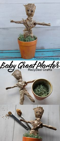 DIY Baby Groot Chia Pet Style Planter I love this Guardians of the Galaxy Baby Groot inspired craft! It's like a cute DIY chia head figureine that you can make with recycled toilet paper (TP) rolls! So clever! I love that you can plant grass or chia seeds Disney On A Budget, Disney Diy, Head Planters, Planter Pots, Diy Galaxy, Pet Style, Green Craft, Baby Groot, Paper Crafts