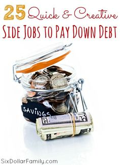 25 Quick & Easy Side Jobs to Pay Down Debt - Trying to be debt free? These 25 quick & easy side jobs to pay down debt are sure to help you! They're quick, they're easy, and they're great for earning extra money!