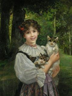 Junges Mädchen mit zwei Katzen by W. Röhling