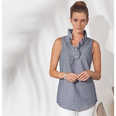 Whitney Sleeveless Tunic Chambray By MudPie