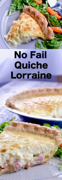 No Fail Quiche Lorraine, an easy yet impressive recipe full of melty cheese, crisped bacon and ham mixed in a light creamy custard all served flaky buttery crust. via @westviamidwest