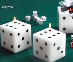 Bunco Bunko Night decoration or Bunco Gift! Black and White Dice Candles - Could easily make!