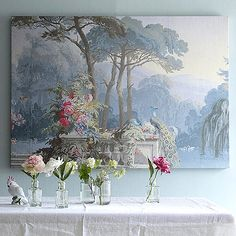 ❥ Peacocks in a garden on canvas, originally designed and screenprinted by hand as exclusive wallpaper panels in 1848 by Frenchman Jean-Henri Zuber.