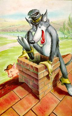 The wolf climbed down the chimney - Three Little Pigs - Robert Lumley - Ladybird Books English Folk Tales, Disney Land Pictures, Imagenes Betty Boop, Brothers Grimm Fairy Tales, Ladybird Books, Big Bad Wolf, Three Little Pigs, Book Illustration, Nursery Rhymes