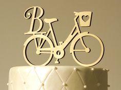 Bike Bicycle Monogram Cake Topper Letter of Your by WeddingCuts Monogram Cake Toppers, Wedding Cake Toppers, Wedding Cakes, Bicycle Cake, Bike Cakes, Bicycle Themed Wedding, Wooden Monogram, Post Wedding, Wedding Ideas