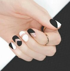 Matte black and white negative space nail art ♡