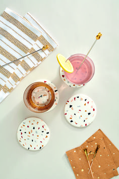 Terrazzo is all the trend, so spruce up your coffee table with these clay coasters. We've created a simple DIY tutorial for you to follow. Happy making!