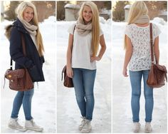 White lace shirt, beige scarf, jeans & white converse