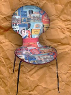 London chair.  Ant Chair wannabe wooden chair covered in wrapping paper. (Wrapping paper from Paper Source.)