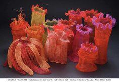 fisch crochet wire coral Crocheted Wire Jewelry of New York Artist Arline Fisch Wire Crochet, Freeform Crochet, Crochet Art, Crochet Patterns, Crochet Style, Wire Jewelry, Jewelry Art, Wire Earrings, Handmade Jewelry