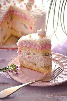 Ana Rosa ~ Fruit basket cake ~ layers of banana, pineapple, and strawberry whipped cream