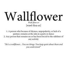 wallflower definition - Google Search