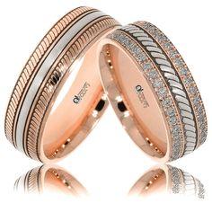 Verighete ATCOM Lux personalizate NURA aur roz cu alb