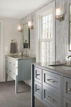 Pinney Designs - bathrooms - Benjamin Moore - Whythe Blue - sinks flanking bathroom window