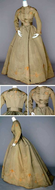 Embroidered silk day dress, ca. 1865. One-piece sage green silk faille with matching belt, tan and ivory floral hand-stitched embroidery, crocheted buttons. Augusta Auctions. I LOVE this dress!