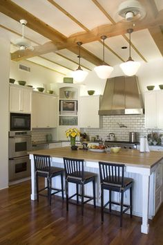 Kitchen H: Pottery Barn catalog Big Kitchen, Home Decor Kitchen, Kitchen Design, Kitchen Ideas, Stools For Kitchen Island, Island Stools, Kitchen Islands, Hardwood Floor Colors, Hardwood Floors