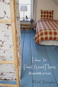 painted wood floors DIY tutorial on how to paint wood floors with detailed instructions to prepare wood floors for painting, wood floor painting tips and best products to use. Painted Hardwood Floors, Pine Wood Flooring, Old Wood Floors, Rustic Wood Floors, Diy Flooring, Bedroom Flooring, Laminate Flooring, Painted Floorboards, Plywood Subfloor