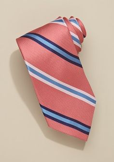 coral and navy striped ties | striped coral tie $15 | wedding