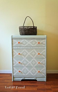 Antique Waterfall Hand-Painted Chest of Drawers