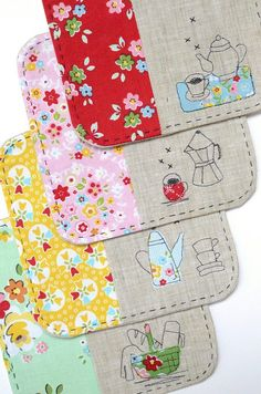 Minki's Work Table Free Motion Embroidery, Embroidery Applique, Machine Embroidery, Quilted Coasters, Fabric Coasters, Quilting Projects, Sewing Projects, Quilt Patterns, Sewing Patterns