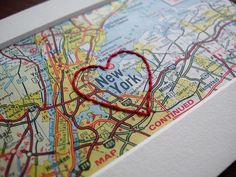 I Heart New York - embroidered vintage map