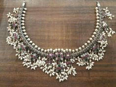 Made for an order. oxidized guttapusalu is now setting up the trend. get this beauty for diwali. can make in 12 days. 3 days to dispatch. book yours now. Pearl Jewelry, Antique Jewelry, Jewelery, Silver Jewelry, Ankle Jewelry, Traditional Earrings, Silver Jewellery Indian, Oxidised Jewellery, Necklace Designs