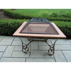 """Oakland Living Victoria 33"""" Fire Pit with Grill - 8040-BK"""