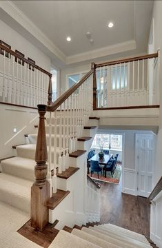 I like the idea of the front door coming directly into hall with staircase and rooms coming off each side.also thus style of staircase may help with space issues from the width of the existing building. Style At Home, Split Foyer, Split Level Entryway, Upstairs Hallway, Level Homes, Staircase Design, Luxury Interior Design, Basement Remodeling, Home Fashion