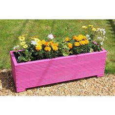 1 METRE LARGE WOODEN GARDEN TROUGH PLANTER IN DECKING PAINTED IN CUPRINOL PINK
