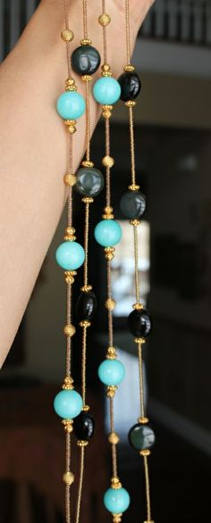 Delicate Layering Necklaces...Amazonite & Black Obsidian www.fariasiddiqui.com