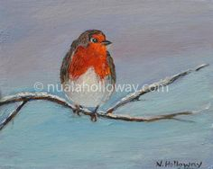 An Spideog i lár an Gheimhridh (A Robin in the midst of Winter) by Nuala Holloway - Oil on Board Painted on 3 December 2016, this painting celebrates the work and life of the Irish language poet Seán Ó Riordáin who was born on this day 100 years ago. He died on 21 February 1977. His first collection of poems Eireball Spideoige (A Robin's Tail) was first published in 1952. www.nualaholloway.com #Robin #Winter #IrishArt #NualaHolloway