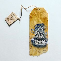 Tea bag art – How do I love tea. Let me count the ways by Ruby Silvious Tea Bag Art, Tea Art, Sakura Painting, Watercolor Painting, Watercolors, Used Tea Bags, T Bag, Found Object Art, Bullet Journal Art