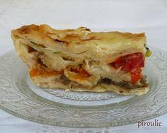 Lasagnes aux légumes (courgettes, poivrons, aubergines, patates douces) et à la béchamel