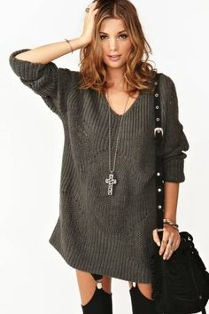 Absolutely NEED this chunky charcoal knit sweater from Nasty Gal! Perfect for fall Cool Outfits, Fashion Outfits, Womens Fashion, Fashion Accessories, Cold Shoulder Dress, Rompers, Clothes For Women, Charcoal, Knitting