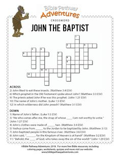John the Baptist Bible crossword for kids Bible Resources, Bible Activities, Bible Games, Bible Lessons For Kids, Bible For Kids, Adventure Bible, Bible John, Bible Quiz, Learn Hebrew