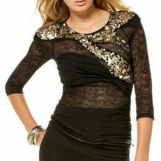 Bebe lace sequin top! Balmain inspired!!! Small Bebe top was apparently inspired by Balmain's 2008 fall collection (Google to see what I'm talking about). Looks really great on with dark denim or a cute mini skirt! Bebe Tops
