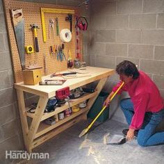 This simple wood work bench is perfect for a garage or utility room, and it takes up almost no floor space. It's also great as a potting bench or laundry table.