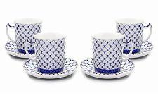 SET of 4 Lomonosov Tea Cups / Mugs, Russian Saint Petersburg Cobalt Blue Net
