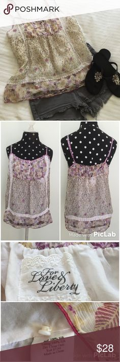 """Just InFor Love & Liberty Silk Top NWOTSweet Little Camisole Top is a perfect addition for summer! Features: Delicate Lace Trim; Pin-tucking at front; Adjustable Straps; Pretty contrasting prints & Fully Lined.100% Silk (both layers). Sz M. Never worn (too big). 18"""" (Flat) side-side at Bust; 19"""" L at center front. For Love & Liberty Tops Camisoles"""
