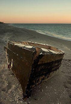 Cuban refugee boat on Jupiter Island beach