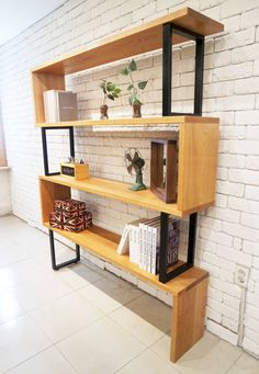 Line bookchest : Design-namu의 거실 Loft Furniture, Iron Furniture, Furniture Design, Cafe Interior, Home Interior Design, Muebles Living, Internal Design, Wall Shelves Design, Bookcase Shelves