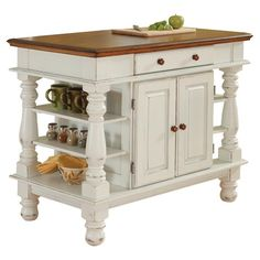 2-toned kitchen island with open shelving and a storage cabinet.   Product: Kitchen islandConstruction Material: Hard...