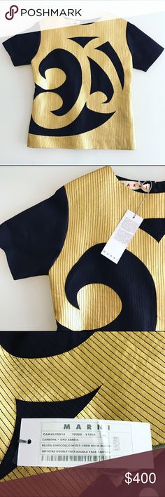 MARNI top Leather, crepe and gold leather aplique top from their 2014 collection. Cut for a boxy fit, brand new, never been used, an item fit for a true fashionista. Marni Tops