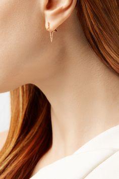 Diane Kordas | Star Hoop 18-karat rose gold diamond earrings | NET-A-PORTER.COM