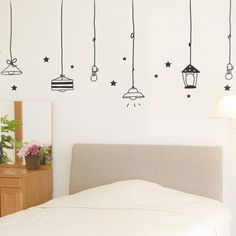 11 Fabulous Wall Decals – My List of Lists Decals are definitely a trend these days and I'm thinking of putting some in our next home. I found these awesome ones while searching online. (If you want to see wh… Tape Wall Art, Washi Tape Wall, Tape Art, Wall Art Designs, Wall Design, Diy Wall Painting, Wall Drawing, House Drawing, Star Wall